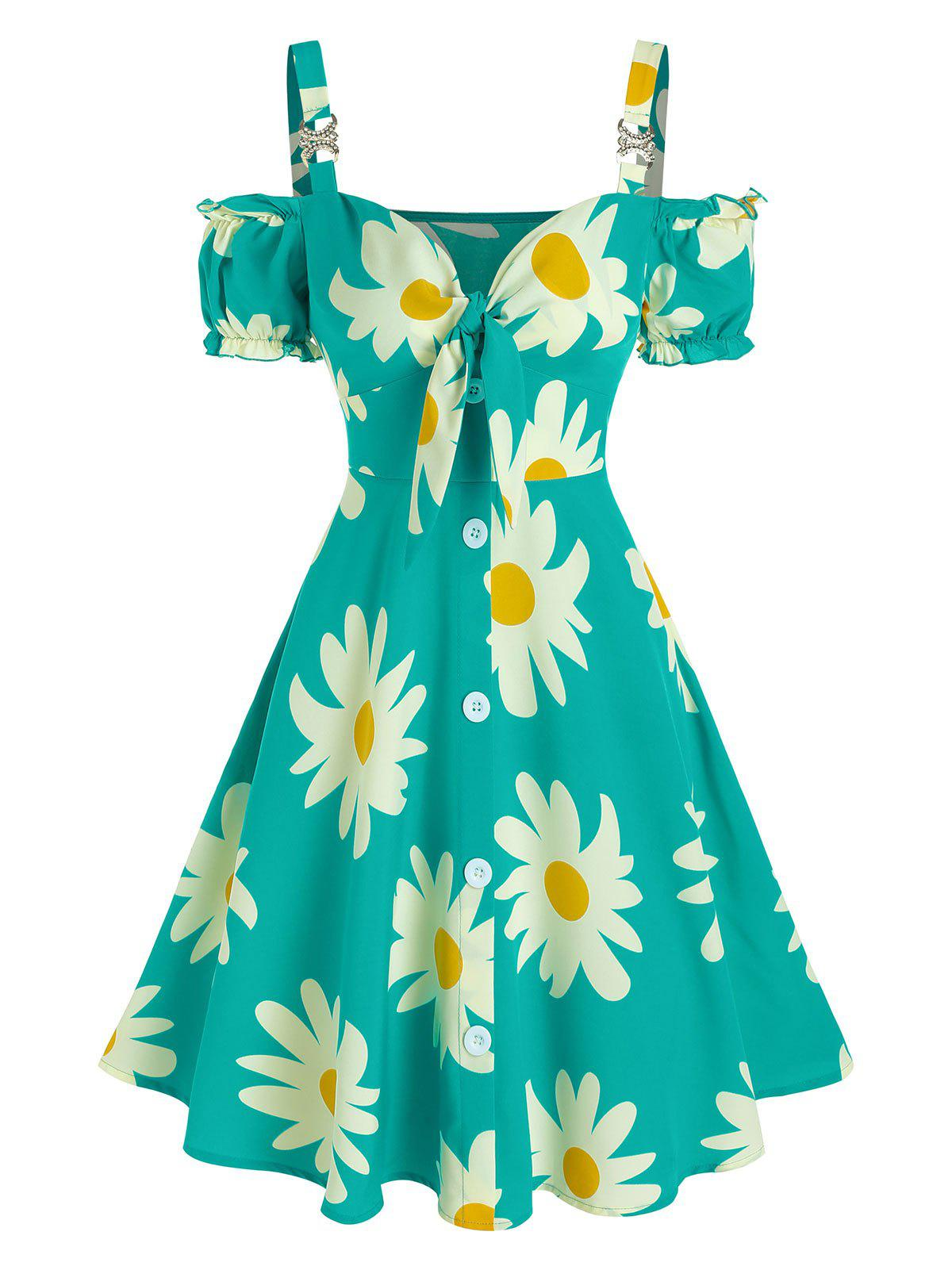 Chic Flower Printed Cold Shoulder Puff Sleeve Dress