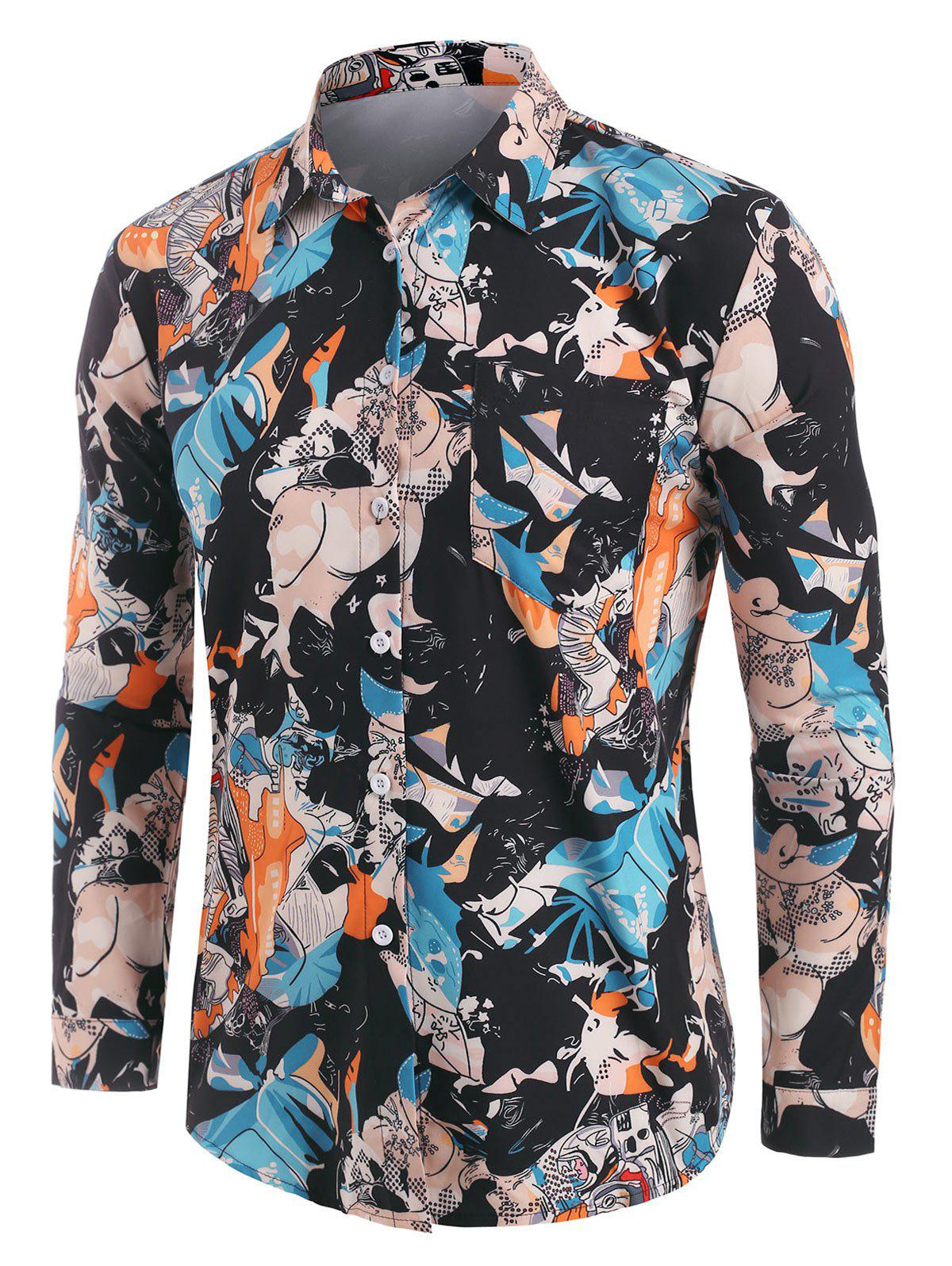 Affordable Long Sleeve Astronaut Pattern Shirt