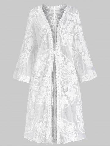 Embroidered Sheer Kimono Cover Up - WHITE - ONE SIZE