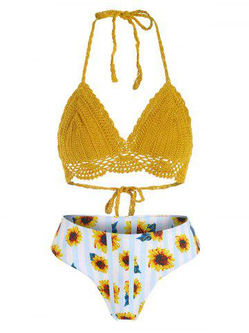 Sunflower Striped Crochet Halter Bikini Swimwear - GOLDEN BROWN - M