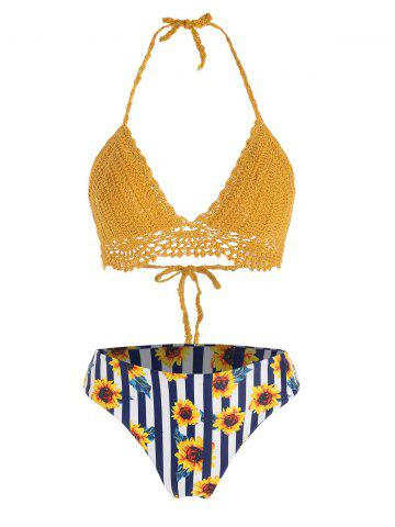 Halter Crochet Sunflower Striped Bikini Swimwear - GOLDEN BROWN - S