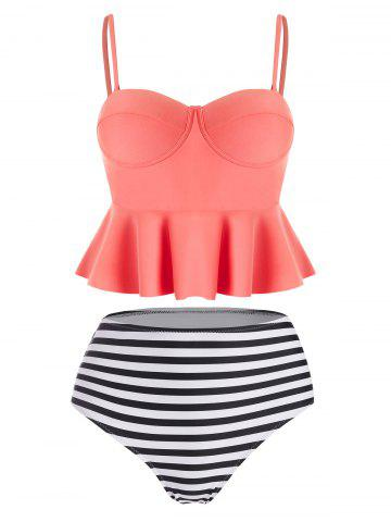 High Waisted Striped Flounce Peplum Tankini - CORAL - S
