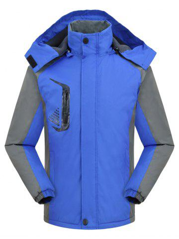 Hooded Graphic Print Contrast Fleece Jacket - BLUEBERRY BLUE - 2XL
