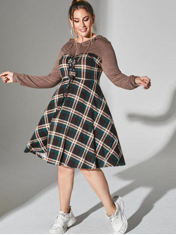 Plus Size Plaid Hooded Lace-up Long Sleeve Dress