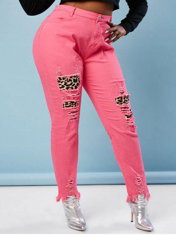 Neon Colored Distressed Leopard Panel Plus Size Skinny Jeans - LIGHT PINK - 3XL