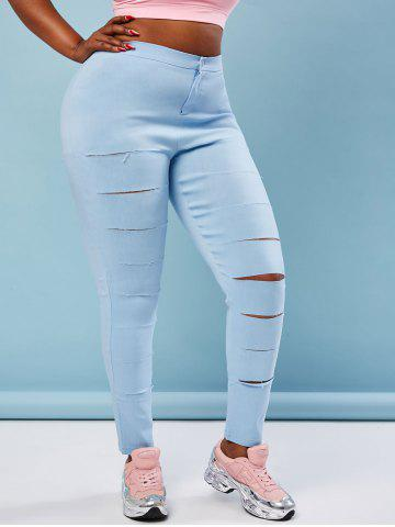 Colored Ladder Distressed Plus Size Skinny Pants - LIGHT BLUE - 3XL