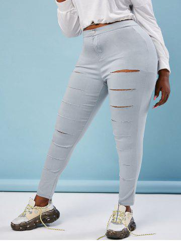 Colored Ladder Distressed Plus Size Skinny Pants - GRAY - 3XL