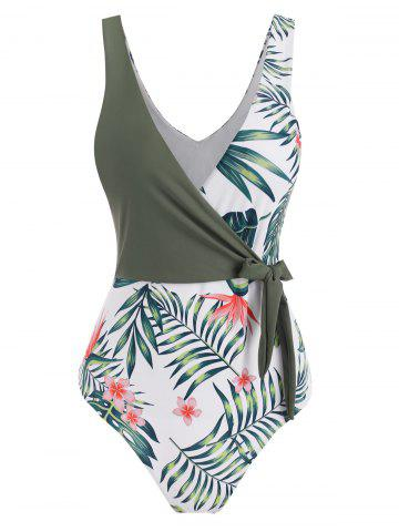 Floral Leaf Surplice-front Tie One-piece Swimsuit