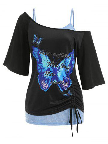 Plus Size Cinched Skew Neck Butterfly Print Tee and Lace Tank Top Twinset - BLACK - 1X