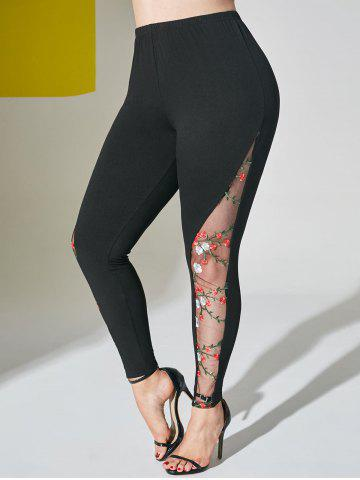Mesh Panel Floral Embroidered Plus Size Leggings - BLACK - 2X