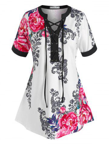 Plus Size Lace-up Flower Print Cuffed Sleeve Tee