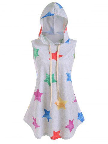 Plus Size Stars Print Hooded Tank Top