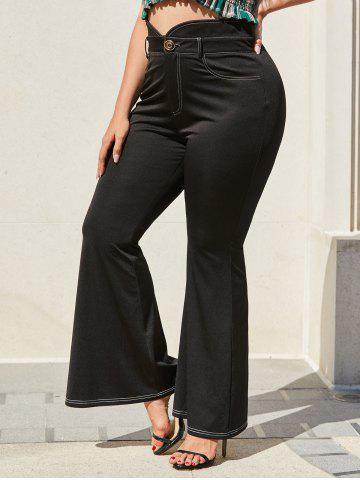 Plus Size Topstitch High Waisted Flare Pants - BLACK - L