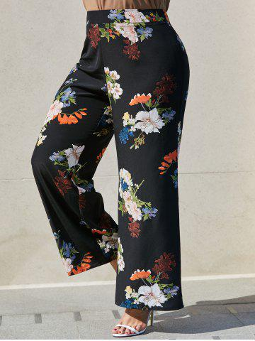 Plus Size Floral Print High Rise Palazzo Pants - BLACK - 3X