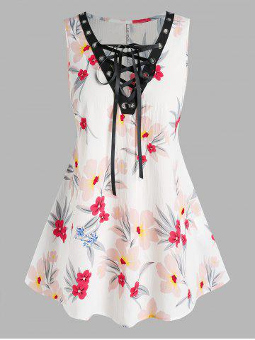 Plus Size Sleeveless Floral Print Lace Up Blouse - WHITE - 3X