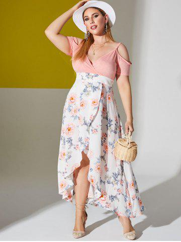 Plus Size Cold Shoulder Floral Print High Low Maxi Dress