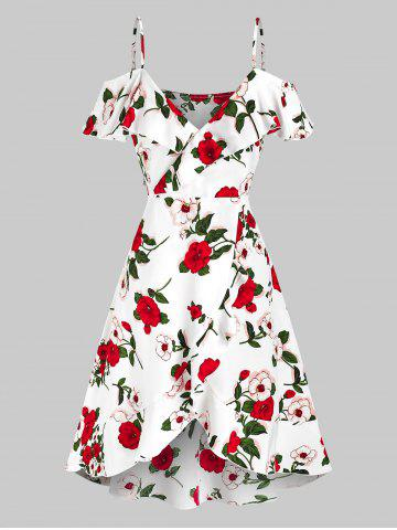 Cold Shoulder Floral Print Ruffle Dress