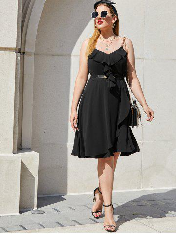 Plus Size Chain Strap Ruffle Sleeveless Overlap Dress
