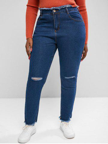 Plus Size Raw Trims Distressed Jeans - DEEP BLUE - 3XL