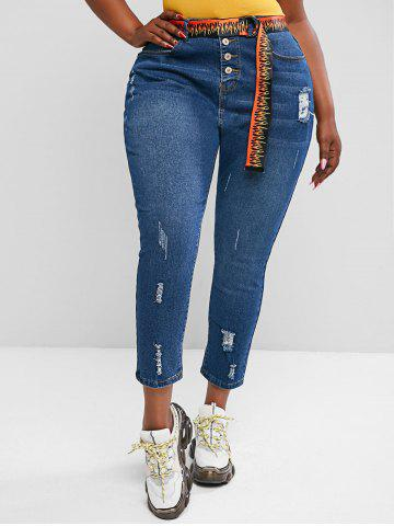 Plus Size Distressed Button Fly Jeans - BLUE - 3XL