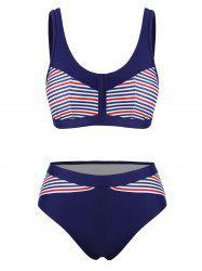 Striped Padded High Cut Bikini Swimsuit -
