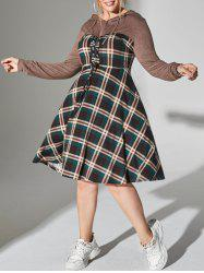 Plus Size Plaid Hooded Lace-up Long Sleeve Dress -