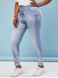 Plus Size Flower 3D Print High Waisted Jeggings -