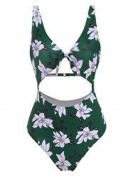 Floral Knot Cutout Padded One-piece Swimsuit -
