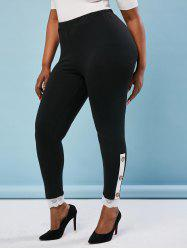 Buttoned Side Scalloped Lace Trim Plus Size Leggings -