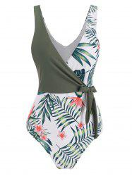Floral Leaf Surplice-front Tie One-piece Swimsuit -