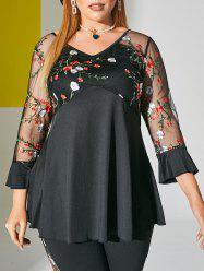 V Neck Floral Embroidered Mesh Panel Plus Size Top -