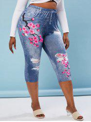 Plus Size Flower 3D Print Skinny Capri Jeggings -