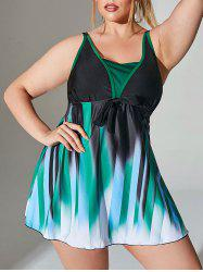 Plus Size Gradient Knot Skirted Boyleg Tankini Swimwear -