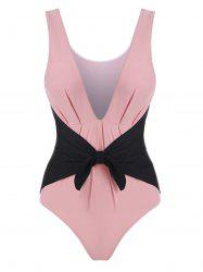 Plunge Contrast Bowknot Pleated Detail One-piece Swimsuit -