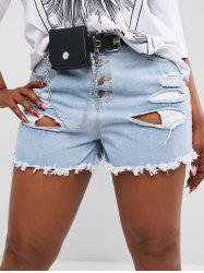 Plus Size Button Fly Distressed Raw Hem Jean Shorts -