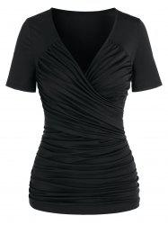 Ruched Short Sleeve Surplice T-shirt -