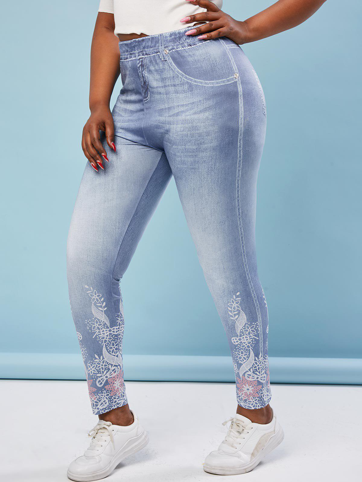 Store Plus Size Flower 3D Print High Waisted Jeggings