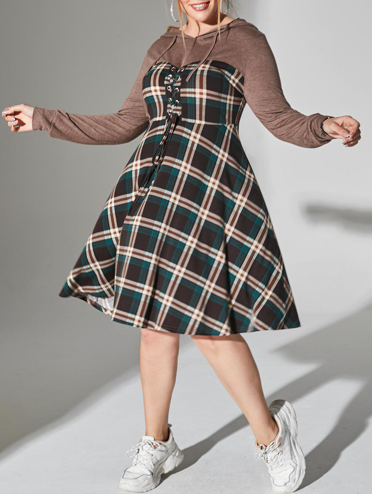 Chic Plus Size Plaid Hooded Lace-up Long Sleeve Dress