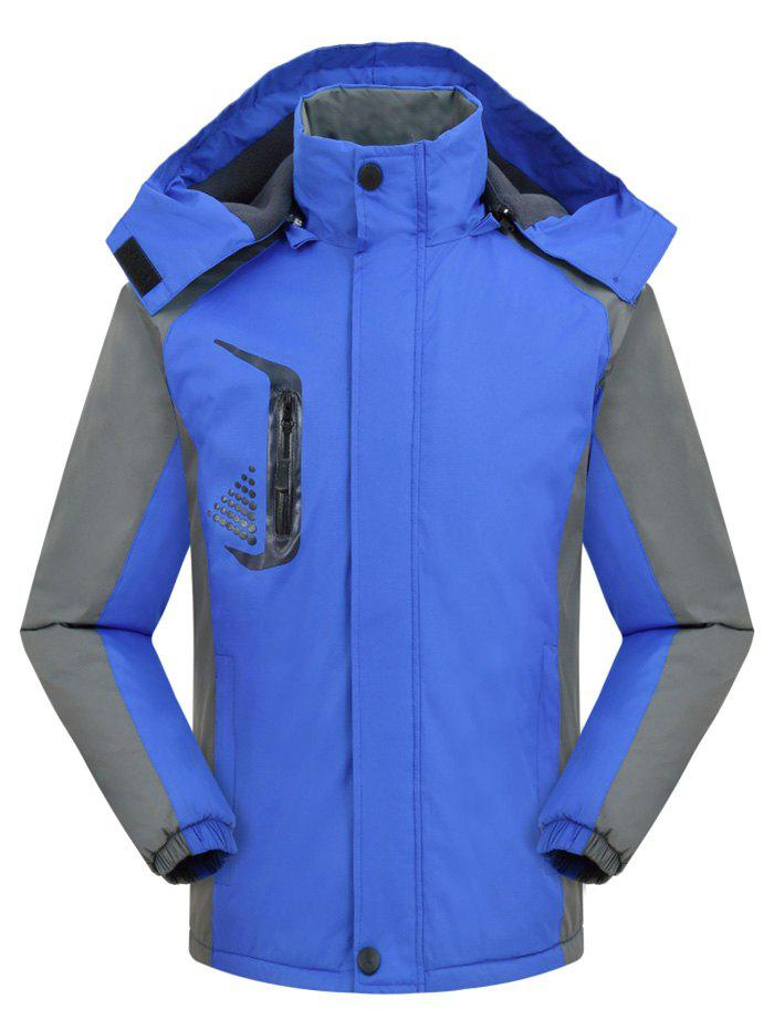 Outfits Hooded Graphic Print Contrast Fleece Jacket
