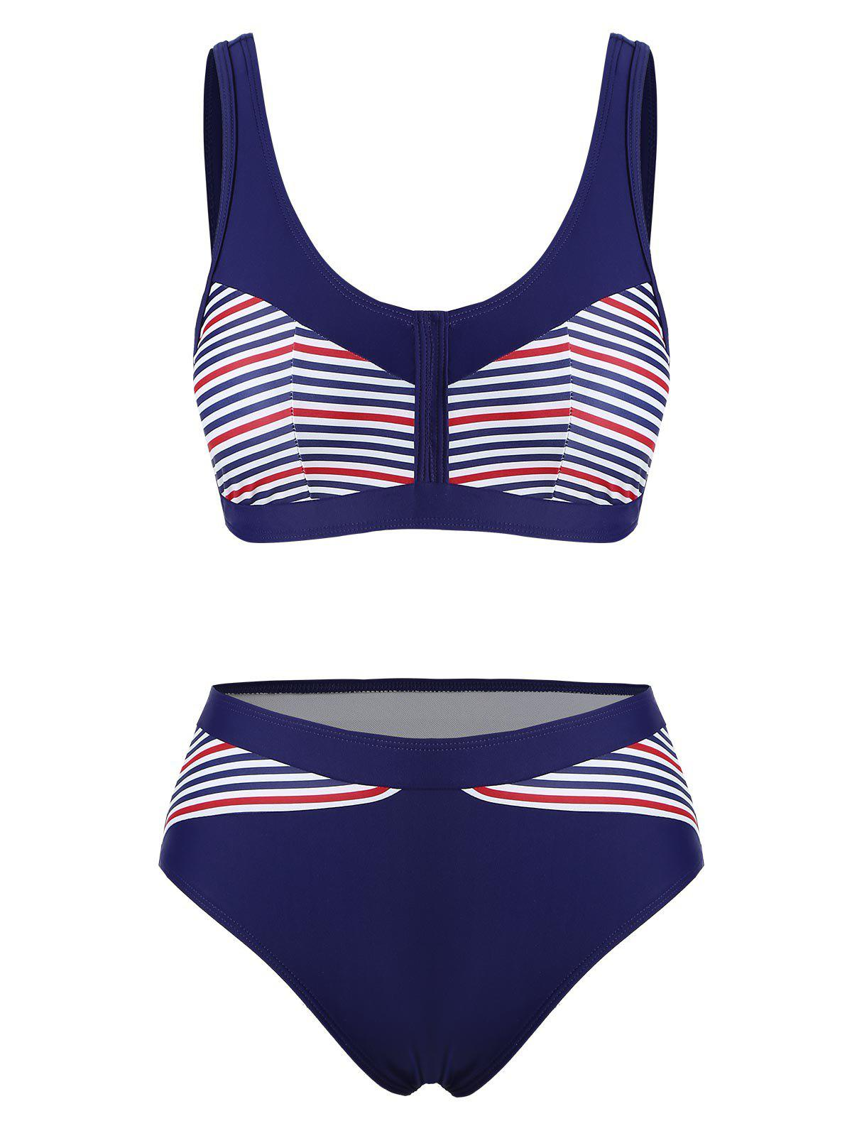 Latest Striped Padded High Cut Bikini Swimsuit