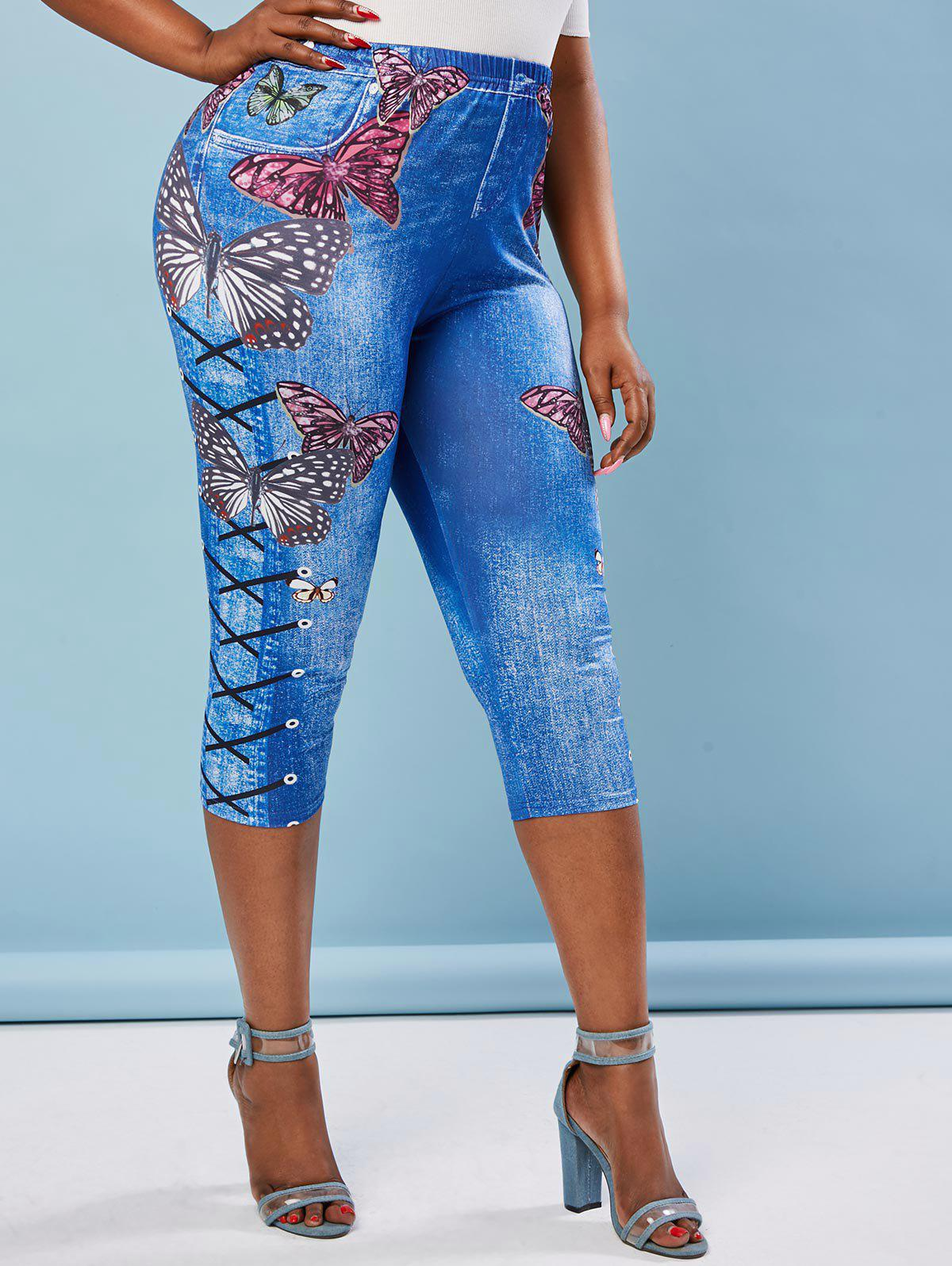 Online Plus Size Butterfly Lace Up Print Cropped 3D Jeggings