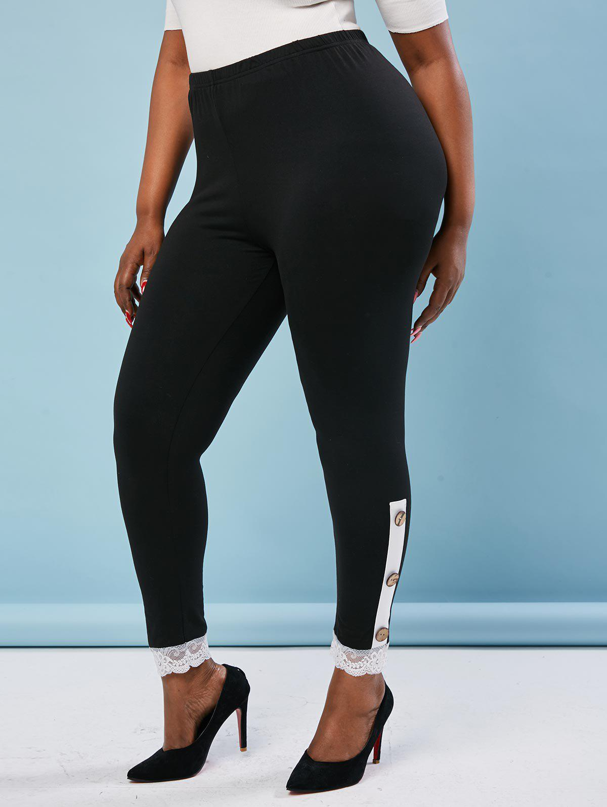 Hot Buttoned Side Scalloped Lace Trim Plus Size Leggings