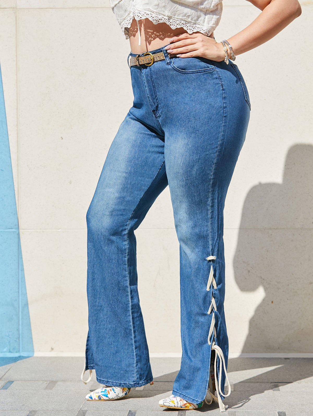 Store High Waisted Lace Up Side Plus Size Flare Jeans