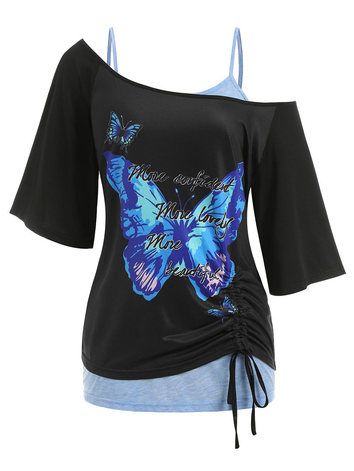 Sale Plus Size Cinched Skew Neck Butterfly Print Tee and Lace Tank Top Twinset