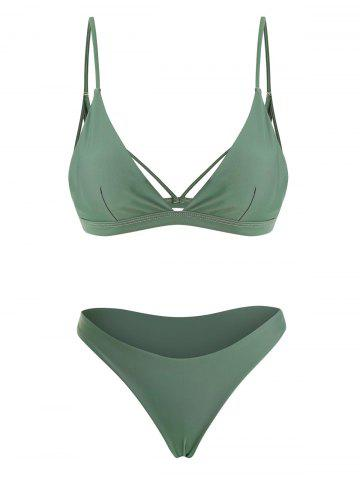 Back Strappy Padded Bathing Suit - GREEN - S