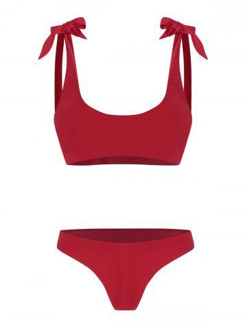 Knot Detail Thong Bikini Set - DEEP RED - XL