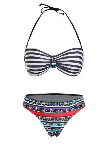Sexy Halter Neck Striped Ethnic Print Women's Bikini Set - COLORMIX - S