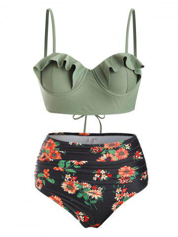 Floral Ruffles Push Up Lace-up Ruched Bikini Swimsuit - CAMOUFLAGE GREEN - S