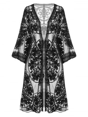 Embroidered Sheer Kimono Cover Up - BLACK - ONE SIZE
