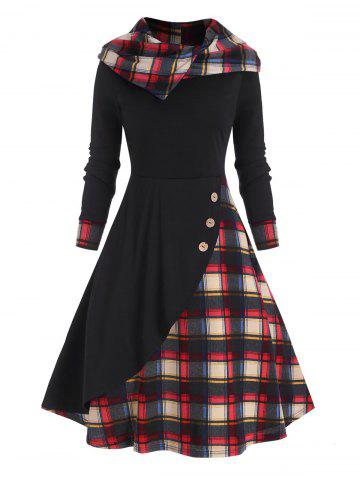 Hooded Plaid Mock Button Overlap Midi Dress